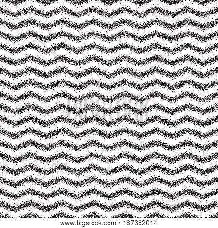 Stipple dots effect abstract background. Halftone seamless pattern. Wave zigzag texture.