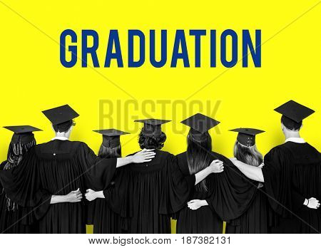 Group of students celebrate the graduation ceremony