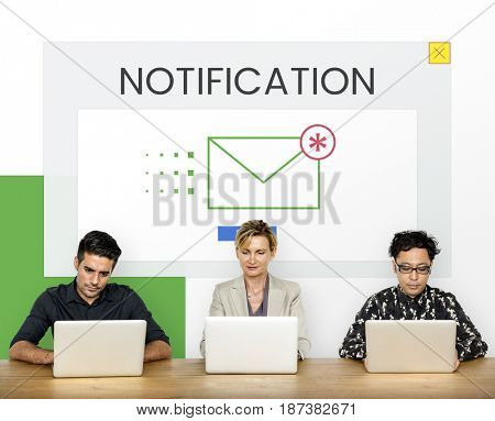 Group of people using digial devices with email icon