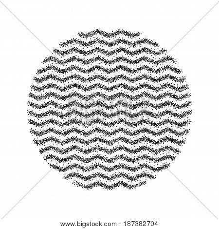 Stipple dots effect abstract round background. Halftone pattern. Wave zigzag texture.