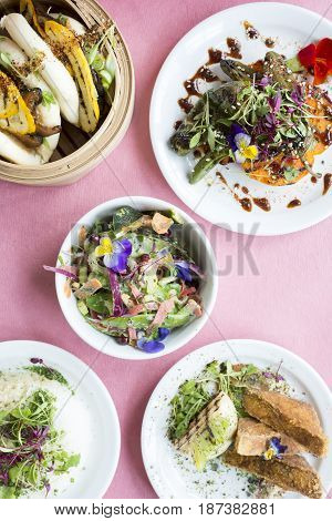 Asian-style Vegetarian Dishes In Plates