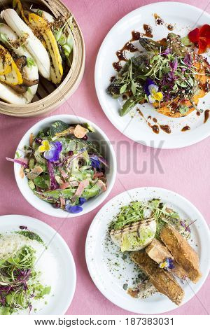 Overhead Shot Of Assorted Asian-style Vegetarian Dishes