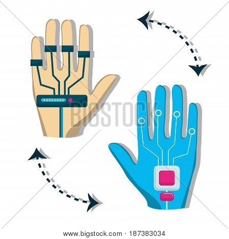 hand with element to virtual reality entertainment, vector illustration