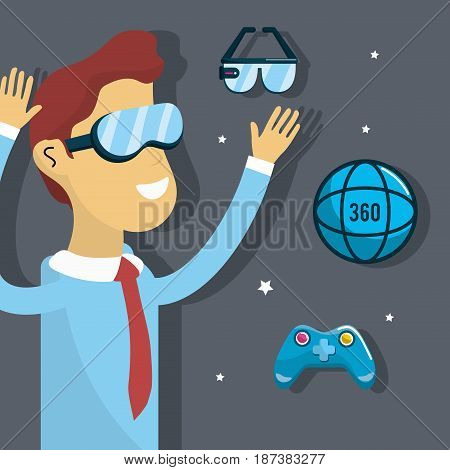man inside virtual reality and futuristic game, vector illustration