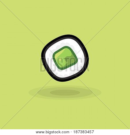 Vector icon japanese fresh roll with cucumber isolated. Illustration traditional japanese food vegetable roll. Image japanese cuisine roll with rice and fresh avocado on green background