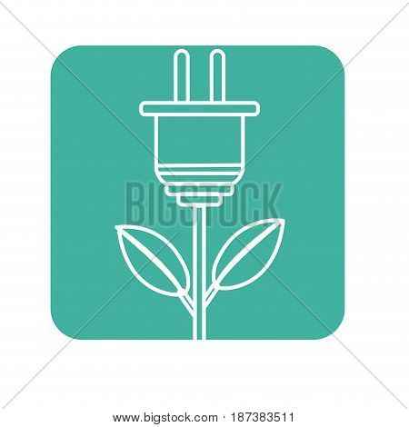 label power cable plant with leaves, vector illustration design