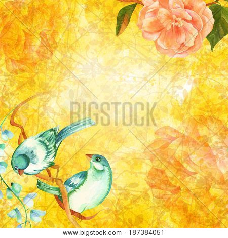 A greeting card or wedding invitation design template with vibrant watercolor teal birds, pink flowers, camellia and peony, on a golden toned background with tree branches, with a place for text