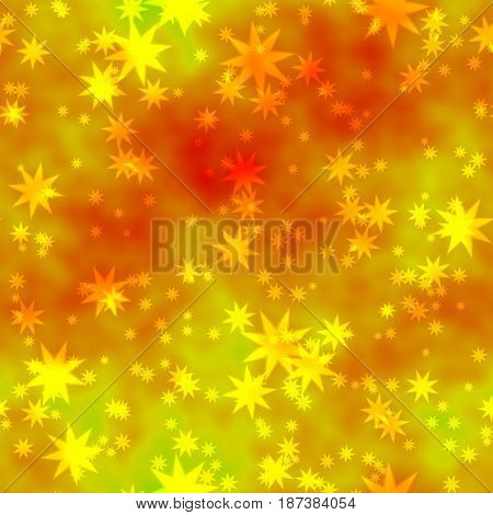 bokeh seamless shinning background with yellow stars in different sizes irregularly scattered on orange mottled background