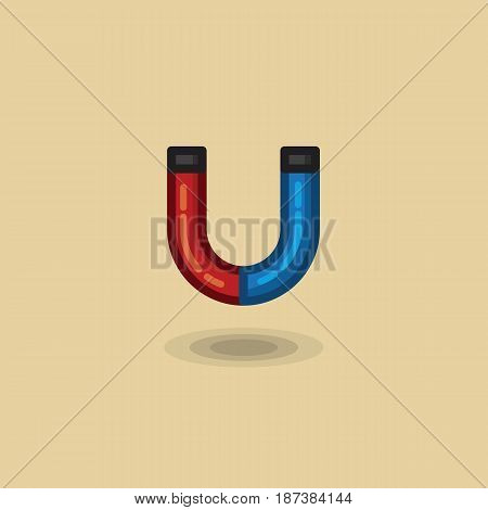 Vector icon magnet horse shoe blue and red color. Illustration magnet design flat style. Magnet vector illustration on light background