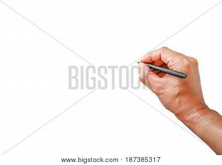 Human hand showing write something isolated on white background