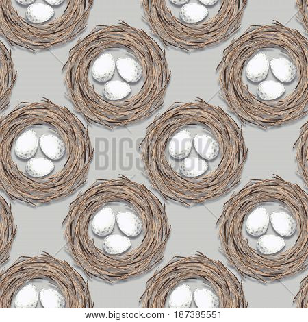 Birds nest with eggs. Seamless pattern 3