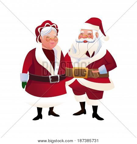 cute couple mr and mrs santa claus characters vector illustration