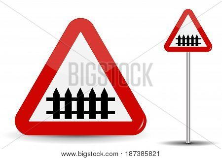Road sign Warning railroad crossing. In Red Triangle, fence-barrier is schematically depicted. Vector Illustration. EPS10