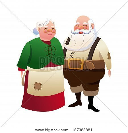 cute couple mr and mrs santa claus traditional vector illustration