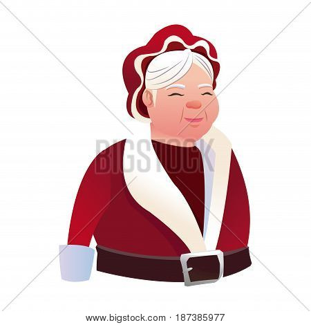 cartoon mrs claus. merry christmas and new year symbol. fun character image vector illustration