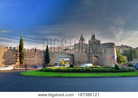 main gate of the medieval walls of Toledo in Spain