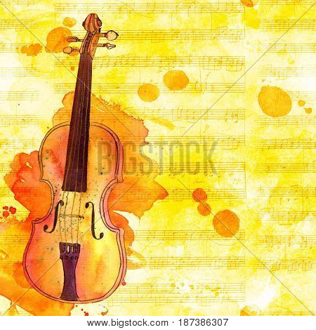 A watercolor drawing of a violin on a golden background with sheet music and ink stains, with a place for text