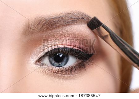 Eyebrow shadow applying, brow modelling makeup, eye closeup. Female model face with fashion make-up, beauty concept isolated