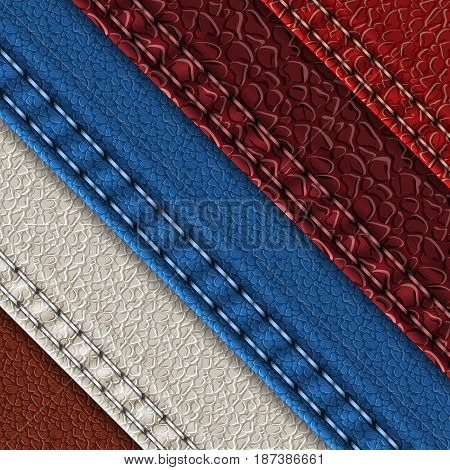 Set of realistic leather textures with seams. Leather backgrounds of different shades. Vector illustration