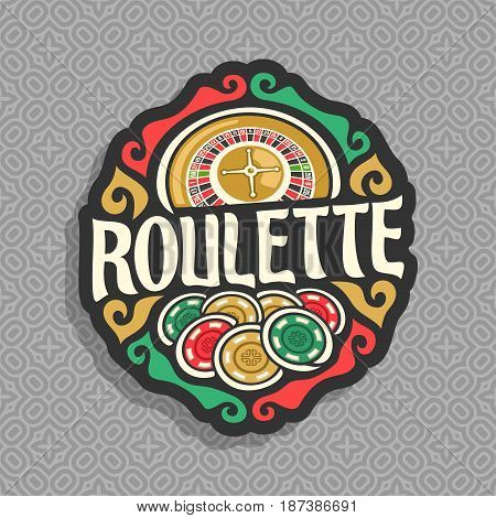 Vector logo for Roulette gamble: wheel of american roulette with double zero, heap of playing chips, title text - roulette, icon on grey seamless pattern for gambling game, clip art symbol for casino.
