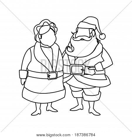 couple mr and mrs santa claus characters outline vector illustration