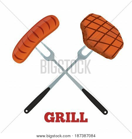 Grill label. Pork, ham and sausage. Barbecue fork, spatula. Made in cartoon flat style.