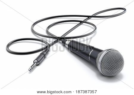 Microphone with the cable in form of treble clef and audio plug on white background - 3D illustration