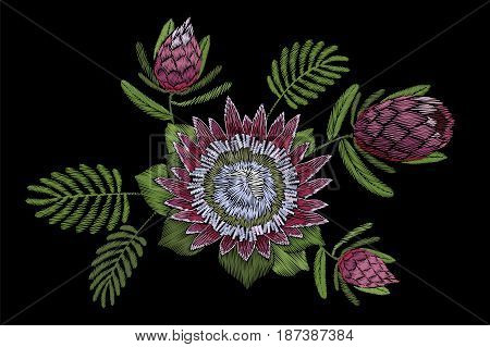Embroidery Floral Patch Tropical Protea Blossom. Pink Flower Exotic Leaves Fashion Print Textile Dec
