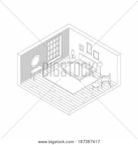 Bedroom in isometric view. Vector illustration of room with brick wall, bed, armchair and console with mirror.