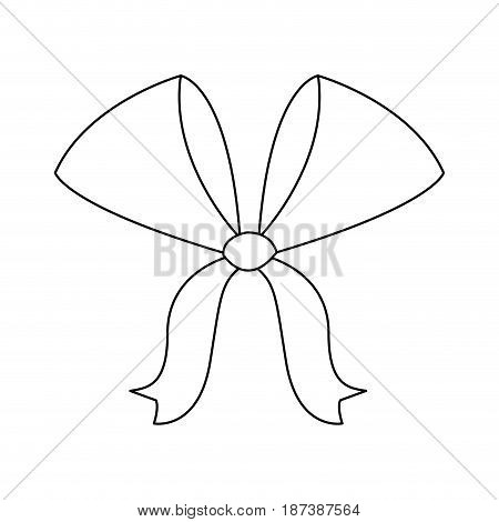 bow ribbon decoration xmas celebration outline vector illustration
