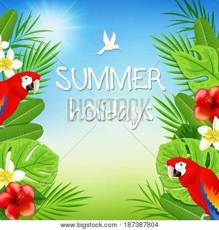 Summer background with tropical flowers green palm leaves and red parrots. Summer holidays lettering.