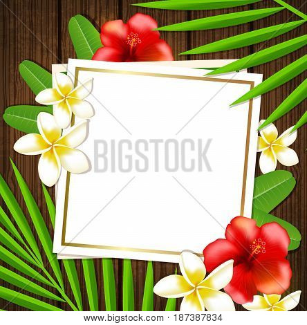 Summer tropical background with green palm leaves flowers and sheet of paper.