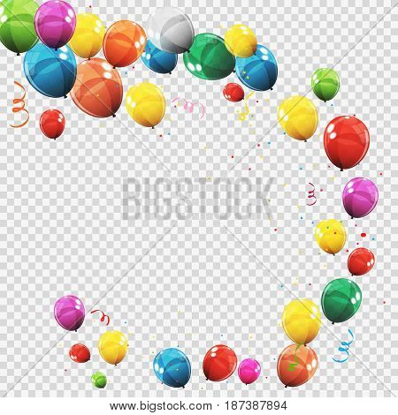 Group of Colour Glossy Helium Balloons Isolated on Transperent  Background. Set of  Balloons for Birthday, Anniversary, Celebration  Party Decorations. Vector Illustration EPS10