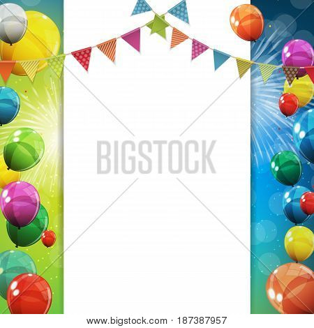 Group of Colour Glossy Helium Balloons Background. Set of  Balloons and Flags for Birthday, Anniversary, Celebration  Party Decorations. Vector Illustration EPS10
