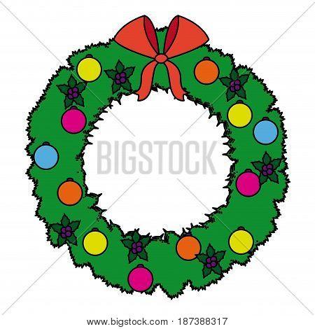 wreath crown christmas decoration celebration party vector illustration