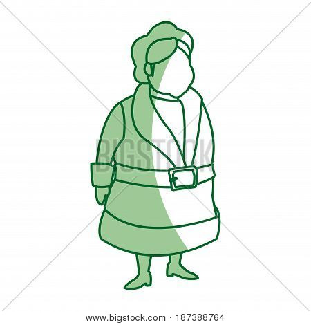 christmas character mrs claus with traditional clothes, faceless avatar vector illustration