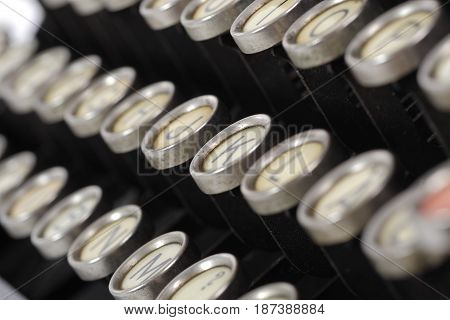 a close up of an old typewriter