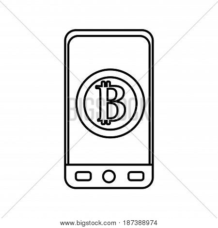 line smartphone with bitcoin currency symbol inside, vector illustration
