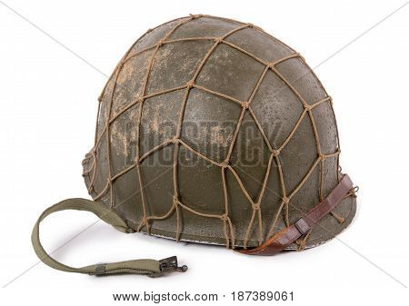 American ww2 military helmet isolated on white background