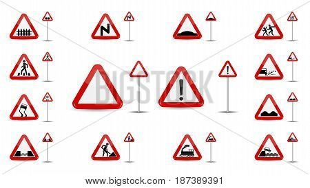 Set of Sign Warning. In Red Triangle is a sketchy different types of special signs for car drivers. Vector Illustration. EPS10