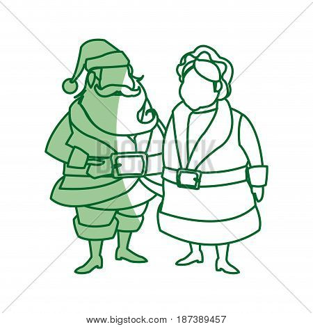 couple mr and mrs claus christmas celebration vector illustration