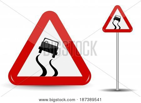 Sign Warning Slippery road. In Red Triangle is a sketchy machine that skidded. Vector Illustration. EPS10