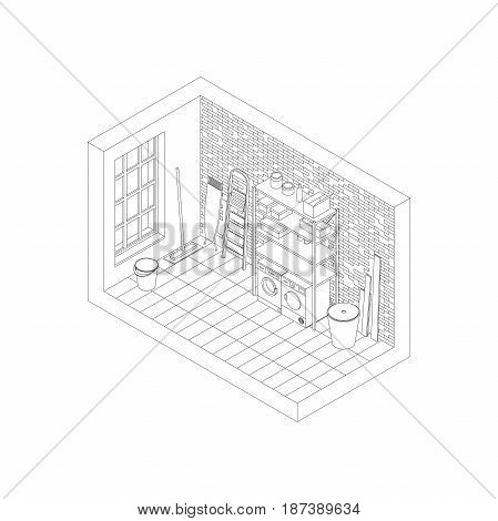 Storeroom line drawing in isometric view. Vector illustration of utility room.