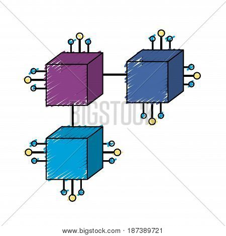 squares digital connections with circuits electronic and magnifying glass, vector illustration