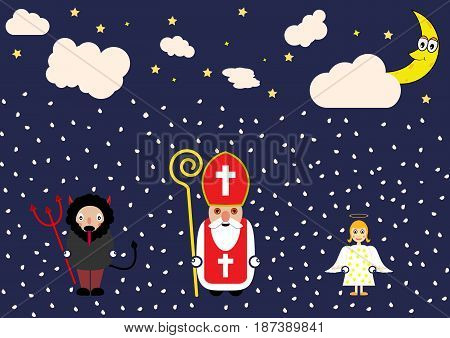 Cute cartoon greeting card with Saint Nicholas angel and devil character.