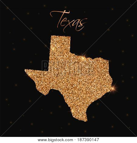 Texas State Map Filled With Golden Glitter. Luxurious Design Element, Vector Illustration.