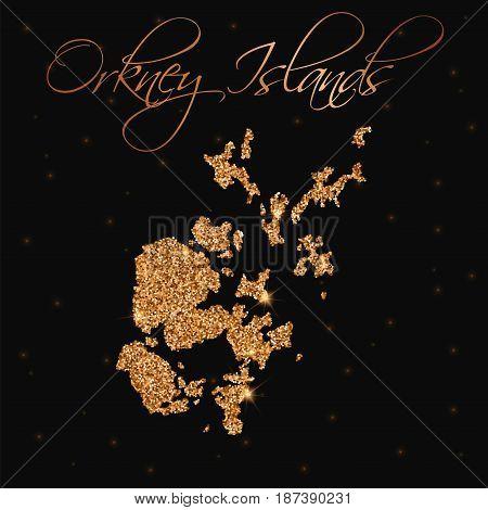 Orkney Islands Map Filled With Golden Glitter. Luxurious Design Element, Vector Illustration.