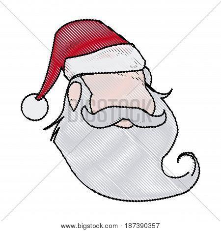face christmas santa claus character vector illustration
