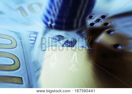 Poker Chips With Money And Gold Cards And Gold Dice Zoom Burst High Quality