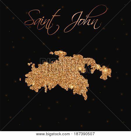 Saint John Map Filled With Golden Glitter. Luxurious Design Element, Vector Illustration.